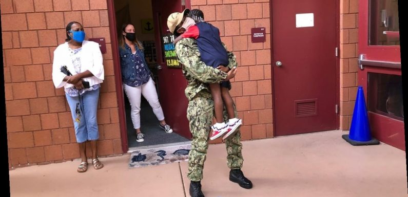 Watch: Florida kindergartener reunites with military mom for the 1st time since COVID-19 struck