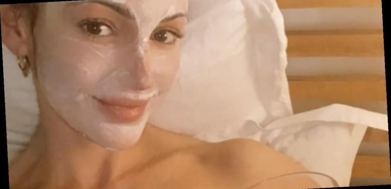 Michelle Keegan ditches clothes for pamper night in just a towel and face mask