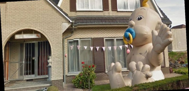 Google Maps user baffled by giant inflatable baby in someone's front garden