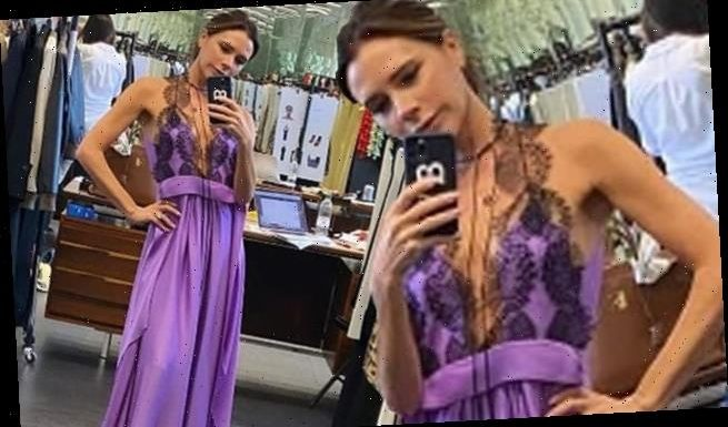 Victoria Beckham stuns in a VERY daring purple dress in throwback snap