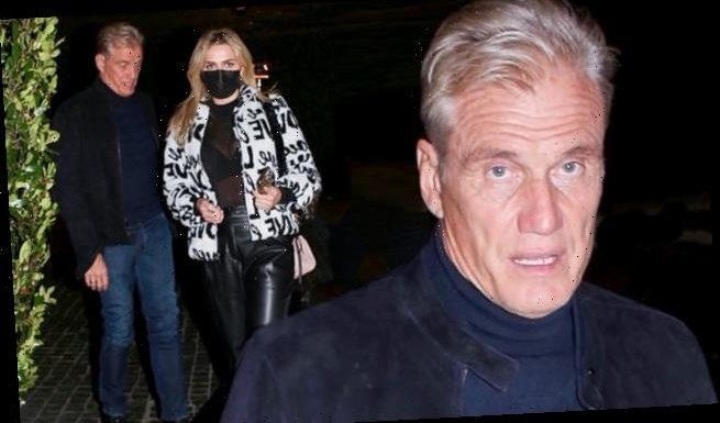 Dolph Lundgren, 63, on date night with fiancee Emma Krokdal, 24, in LA