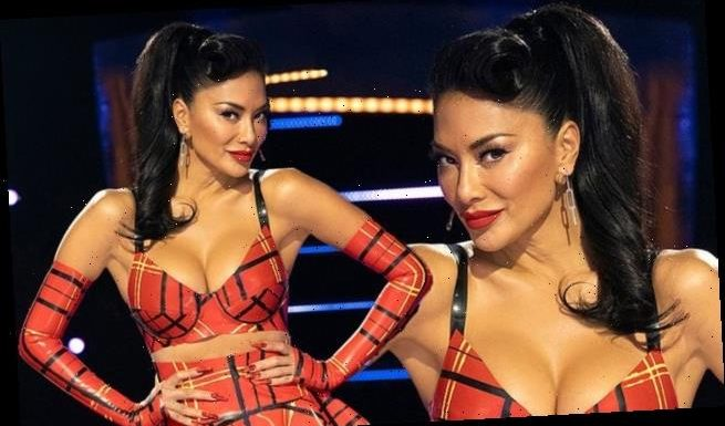 Nicole Scherzinger sizzles in a racy patterned PVC co-ord