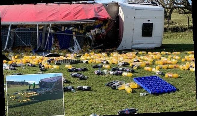 Lorry crash spills thousands of bottles of Fanta into farmer's field