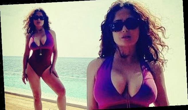 Salma Hayek, 54, looks INCREDIBLE as she poses in maroon swimsuit