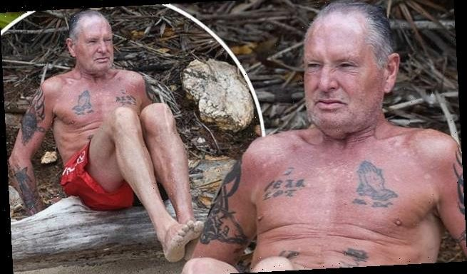 Gazza works out in swimming trunks during Italian I'm A Celebrity