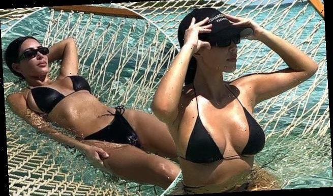 Kim Kardashian stuns as she shows off her figure in a black bikini