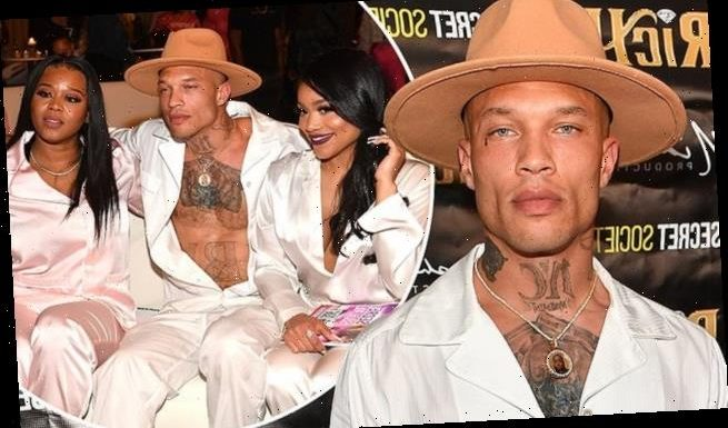 Jeremy Meeks wears unbuttoned shirt at pyjama party for his new movie