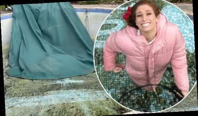 Stacey Solomon unveils her empty pool at new home and gets cleaning