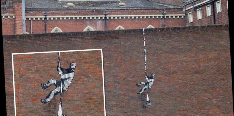 Possible new Banksy art showing prisoner escaping appears on side of Reading prison after months of silence from artist
