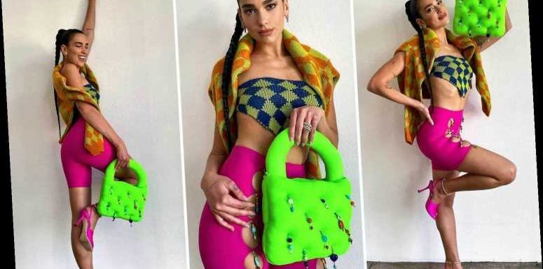 Dua Lipa embraces clashing colours in a skintight get-up at a Vogue photoshoot