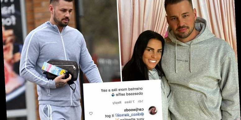 Katie Price's boyfriend Carl Woods hits back at troll who called him 'embarrassing' after pregnancy test pic