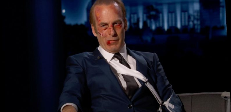 Bob Odenkirk Arrives All Bruised Up as His Nobody Character on Jimmy Kimmel Live!