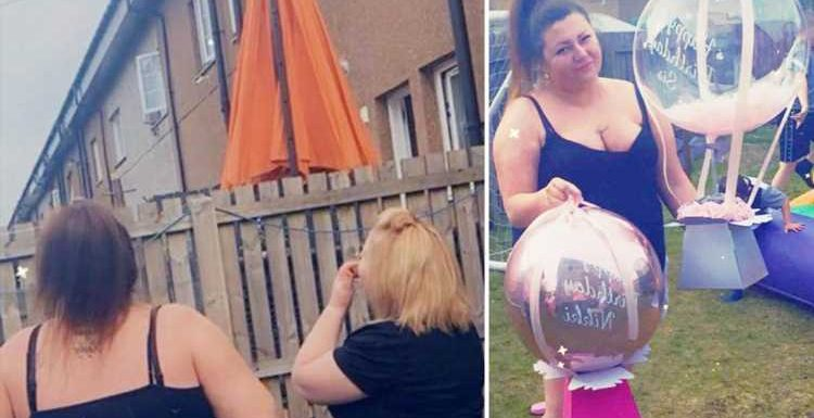 Birthday girl, 37, watches in horror as gift balloon with £100 tied to it floats away moments after unwrapping