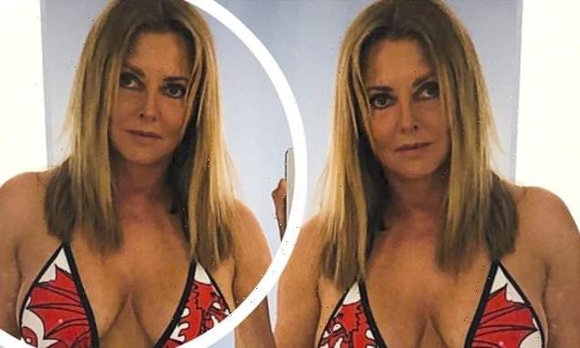 Carol Vorderman, 60, puts on busty display in TINY Welsh Dragon bikini