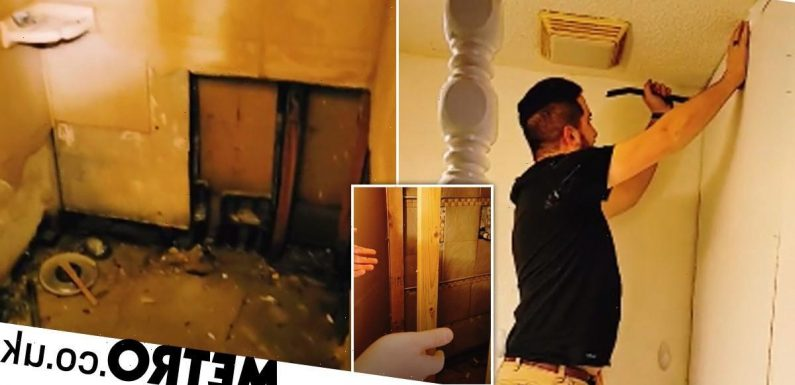 Couple discovers secret bathroom hidden behind wall while renovating their home
