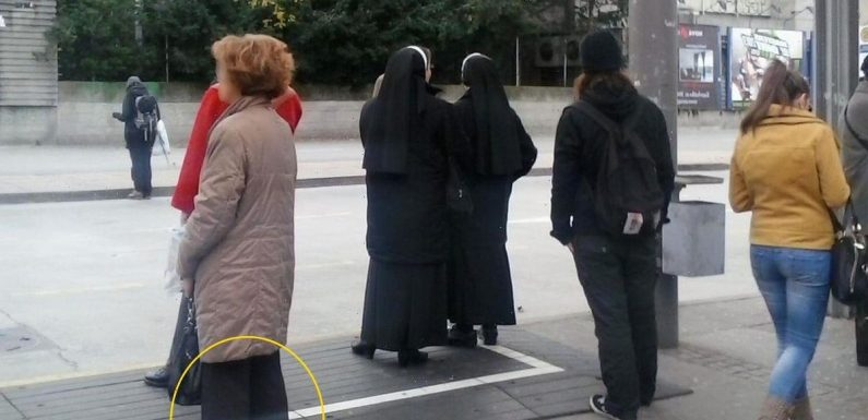 'Ghost with see-through' legs caught on camera waiting behind nuns at bus stop