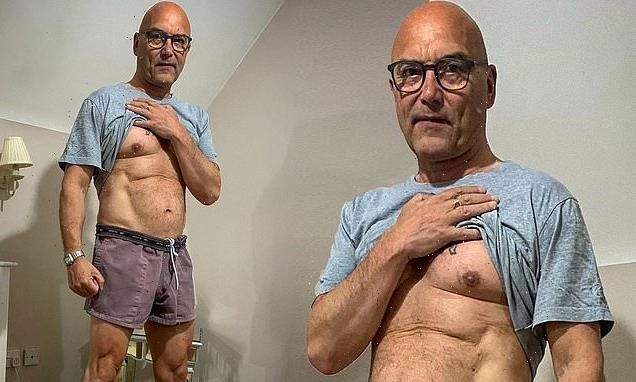 Gregg Wallace lifts up his shirt to reveal his impressive weight loss