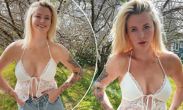 Ireland Baldwin wows in lace bralet as she poses in a field