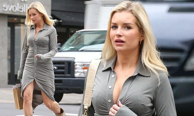 Lottie Moss displays toned curves in plunging dress in New York City