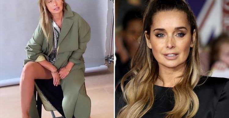 Louise Redknapp flashes her thigh in daring trench coat as she shares behind-the-scenes glimpse at photoshoot