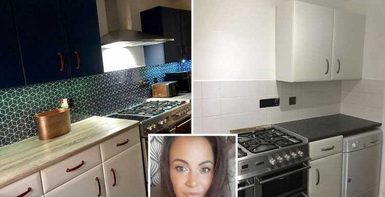 Savvy mum quoted £15k for a new kitchen revamps it herself with £6 paint – and she did it all at 37 weeks pregnant