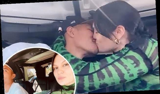 Jessie J  kisses her boyfriend Max Pham Nguyen inside a car wash