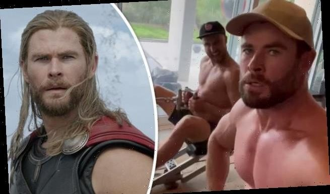 Chris Hemsworth does an intense workouts in the gym with his DJ pal