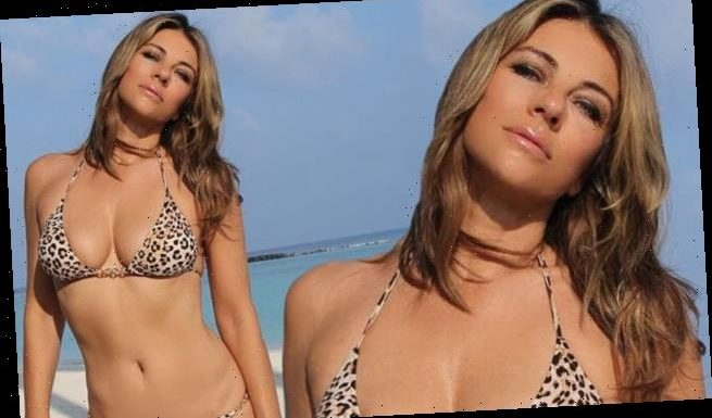Elizabeth Hurley turns up the heat in a tiny leopard print bikini