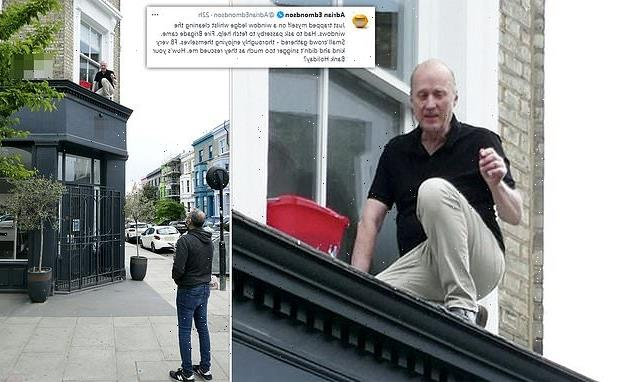 Ade Edmondson, 64, traps himself on a LEDGE while cleaning his windows