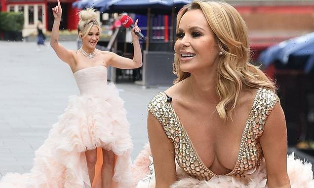 Amanda Holden puts on a busty display in plunging gown