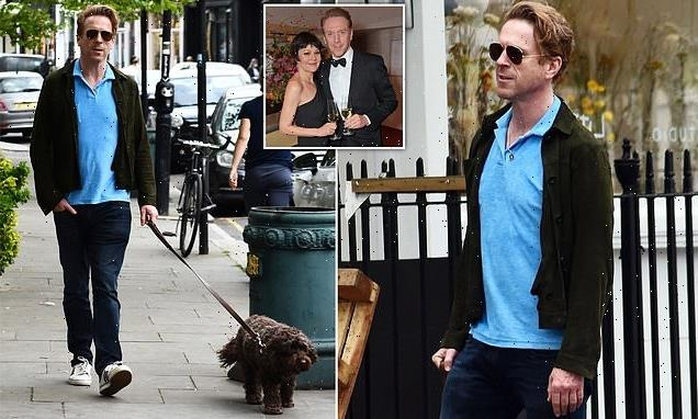 EXC: Damian Lewis is seen for first time since his wife Helen's death