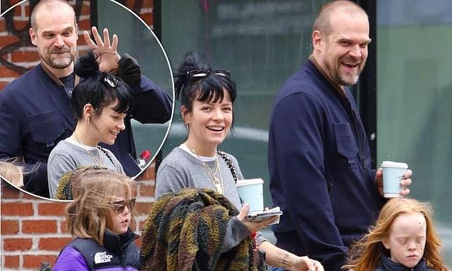 Lily Allen steps out on her birthday with David Harbour and her kids