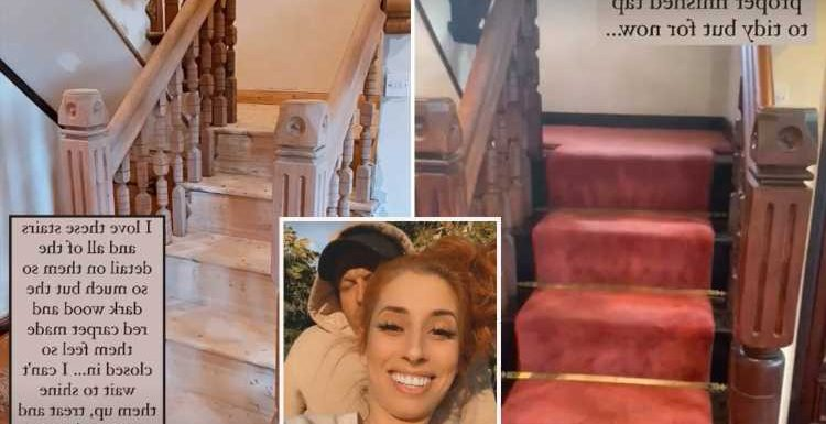 Stacey Solomon shows off jaw-dropping staircase transformation as she ditches red carpet and strips back oak