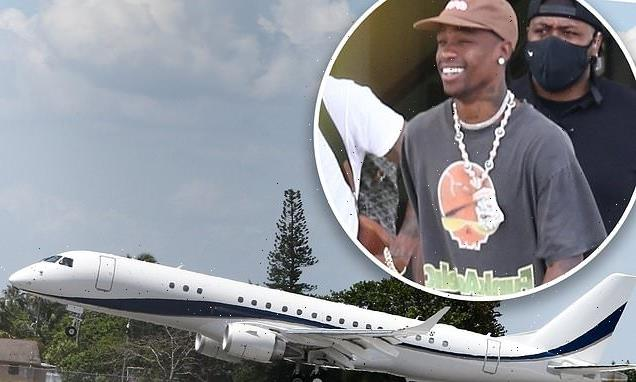 Travis Scott arrives in Miami in his ENORMOUS new private jet