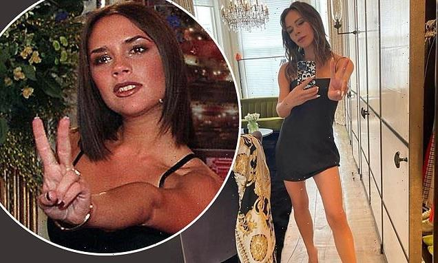 Victoria Beckham, 46, flashes a peace sign in strapless black dress