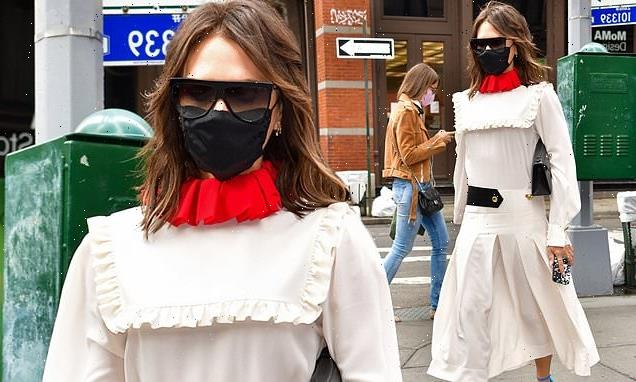 Victoria Beckham turns heads in a quirky white dress in NYC