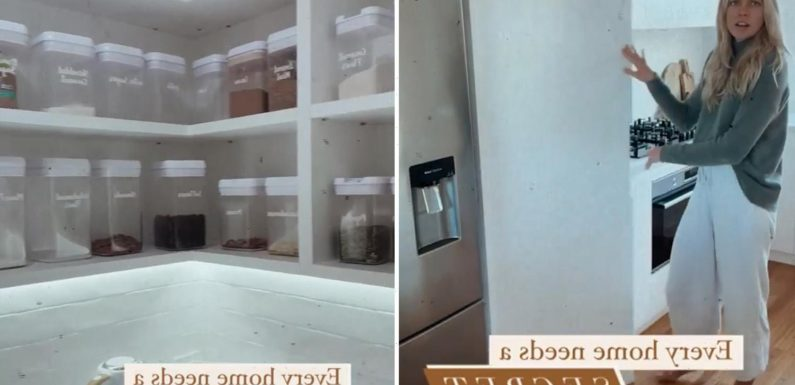 Woman reveals her enviable 'secret' walk-in pantry behind a hidden door in her kitchen – and it's immaculately organised