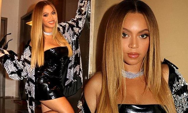 Beyonce looks younger than her 39 years in sexy vinyl LBD on Instagram