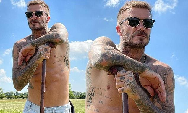 David Beckham, 46, goes shirtless as she shows off his toned physique