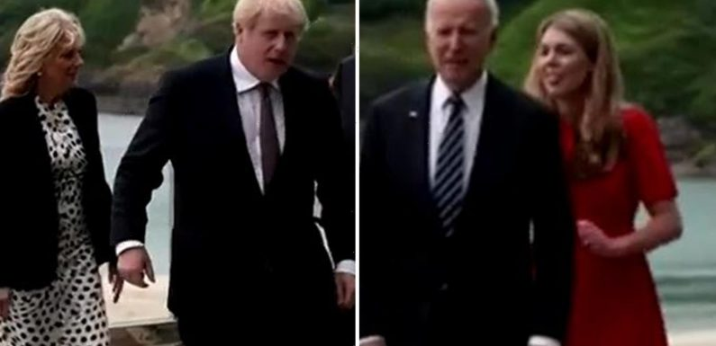 Did Boris Johnson almost hold hands with Joe Biden's wife as new wife Carrie lingers in the background at G7 love-in?