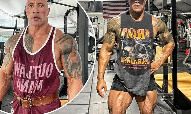 Dwayne 'The Rock' Johnson, 49, shows off INSANELY muscly legs and arms
