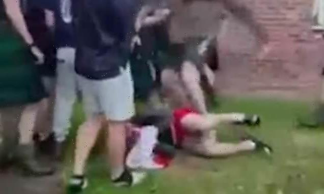 English and Scottish soldiers punch each other in vicious Euros brawl