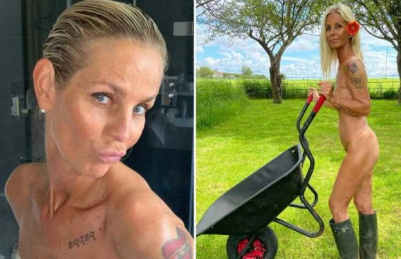Ulrika Jonsson strips off fully NAKED for sexy garden snap showing off her tan and tattoos