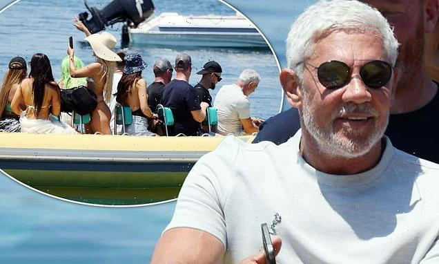Wayne Lineker, 59, joins a host of scantily-clad women for a boat ride
