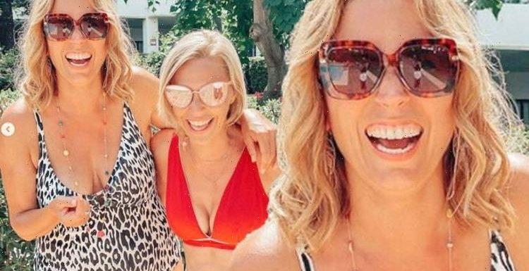 A Place In The Sun's Jasmine Harman and Laura Hamilton don swimwear for Spanish reunion