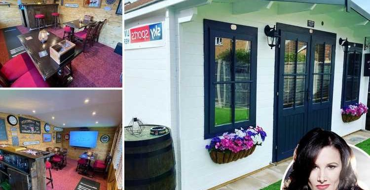 Inside X Factor star Sam Bailey's amazing pub in her shed with smoking area and Sky Sports