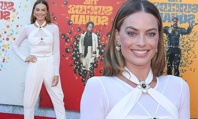 Margot Robbie is a vision in white at The Suicide Squad premiere
