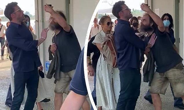 Ben Affleck protects Jennifer Lopez from an overzealous fan in Italy