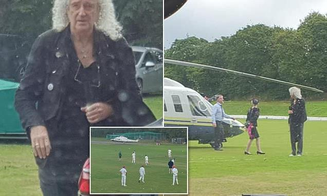 Brian May lands helicopter on cricket pitch as he attends wedding