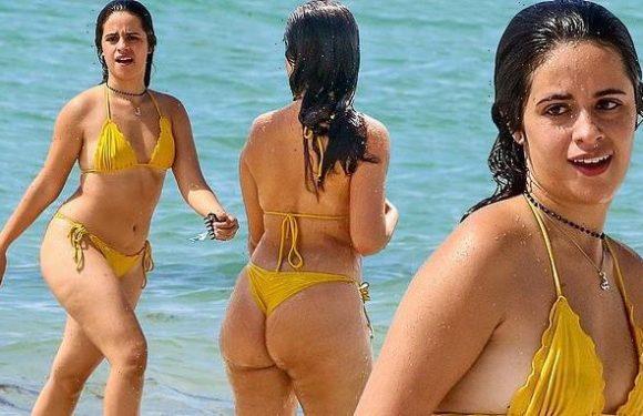 Camila Cabello puts on a very cheeky display in thong bikini